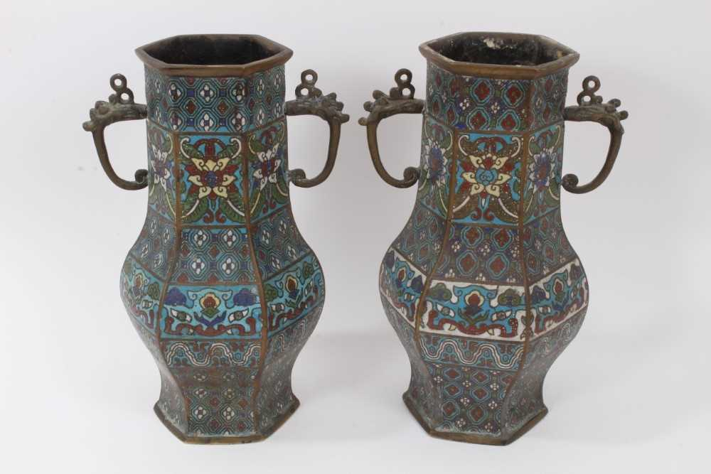 Pair of antique Chinese cloisonné enamel and brass vases, 30.5cm
