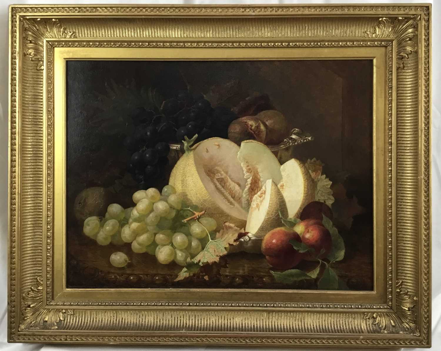 Eloise Harriet Stannard (1828-1915) oil on canvas, Peaches and grapes - Image 5 of 10