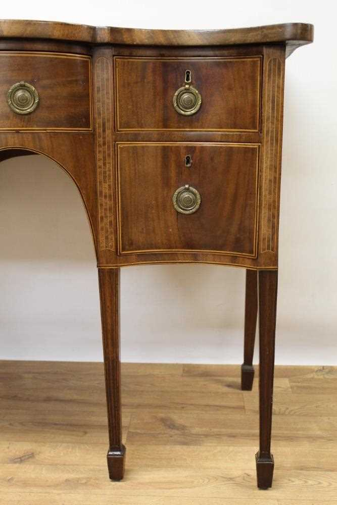 George III mahogany and satinwood banded serpentine sideboard of small proportions - Image 5 of 9
