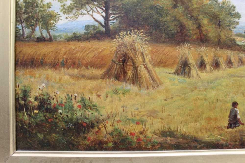J Hughes - late 19th century oil on canvas in original gilt frame - Sunny Cornfield. 29cm x 44.5cm - Image 5 of 11