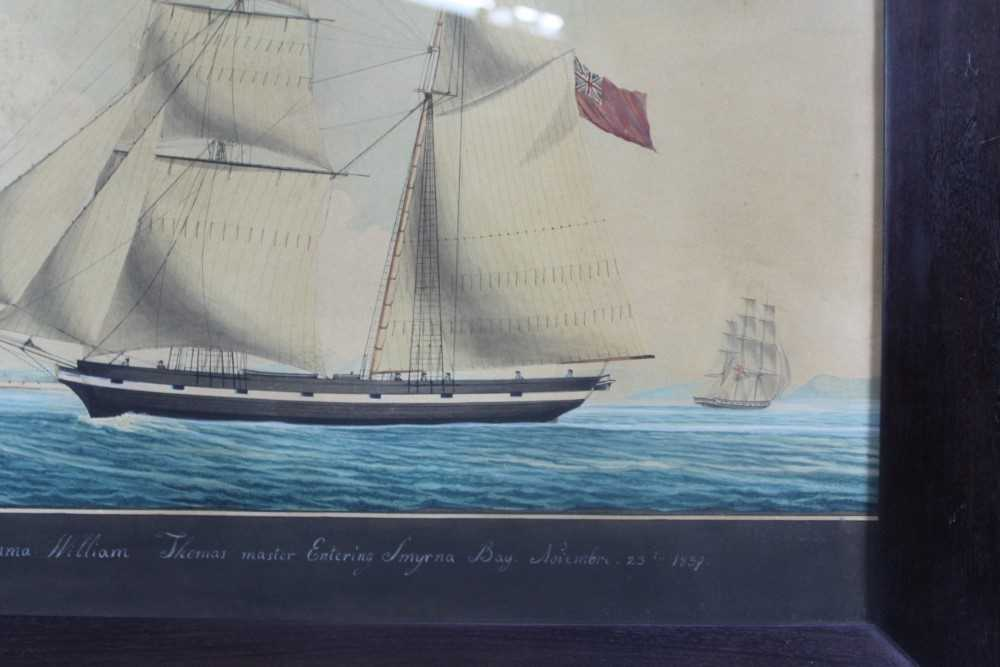 Mid 19th century ink and watercolour - 'Brigantine Emma - William Thomas master, Entering Smyrna Bay - Image 3 of 8