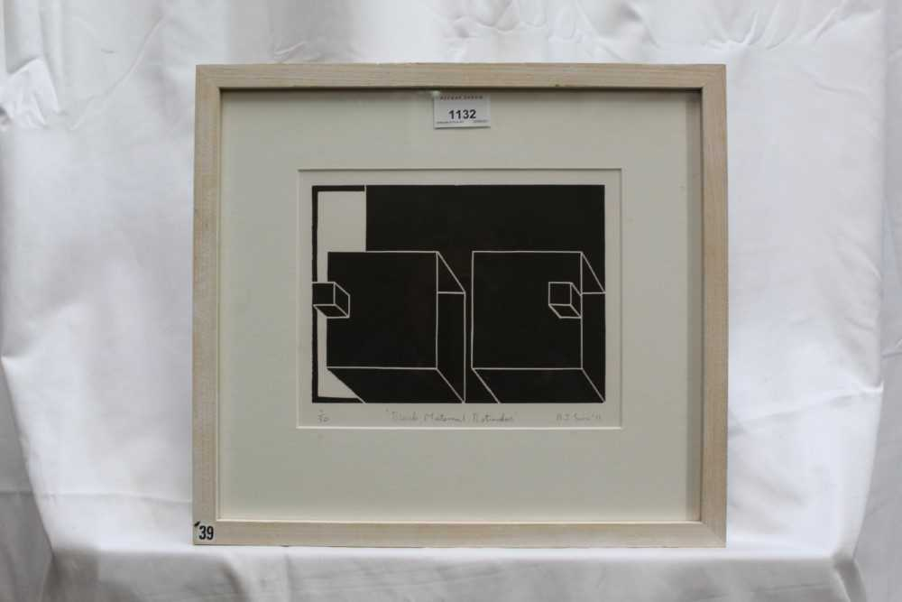 Ron Sims (1944-2014) signed limited edition linocut - Black Maternal Rotundas, 1/50, dated '11, 17.5 - Image 2 of 6