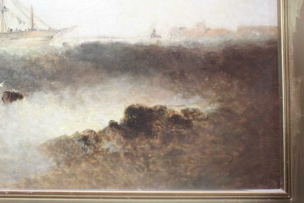 Manner of William Henry Williamson oil on canvas - shipping off the coast, in gilt frame - Image 16 of 27