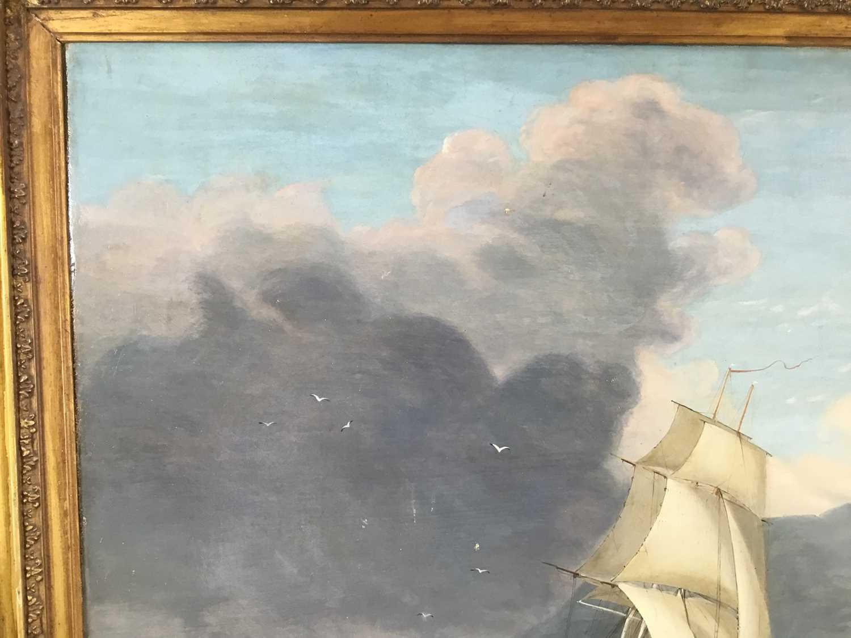 John Lynn (act.1826-1869) oil on canvas - British Frigate off Gibraltar, circa 1835, 49cm x 60cm, in - Image 6 of 15