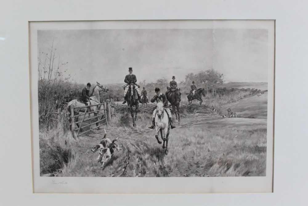 Thomas Blinks (1860-1912) three signed photogravures - Hunting Scenes, 40cm x 57cm, in glazed frames - Image 7 of 15