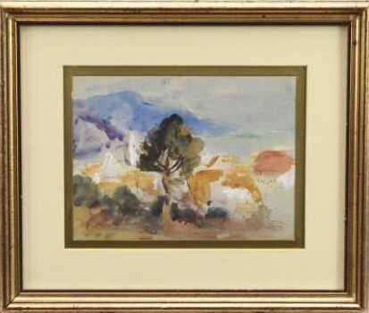 Robert G. D. Alexander (1875-1945) pencil and watercolour - view of Laigueglia, 14cm x 18.5cm, in gl
