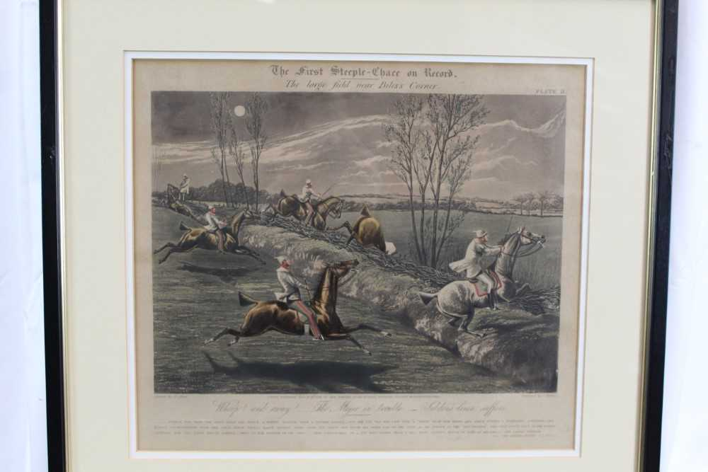 Henry Alken, set of four hand coloured engravings - First Steeple Chase on Record - Image 6 of 11