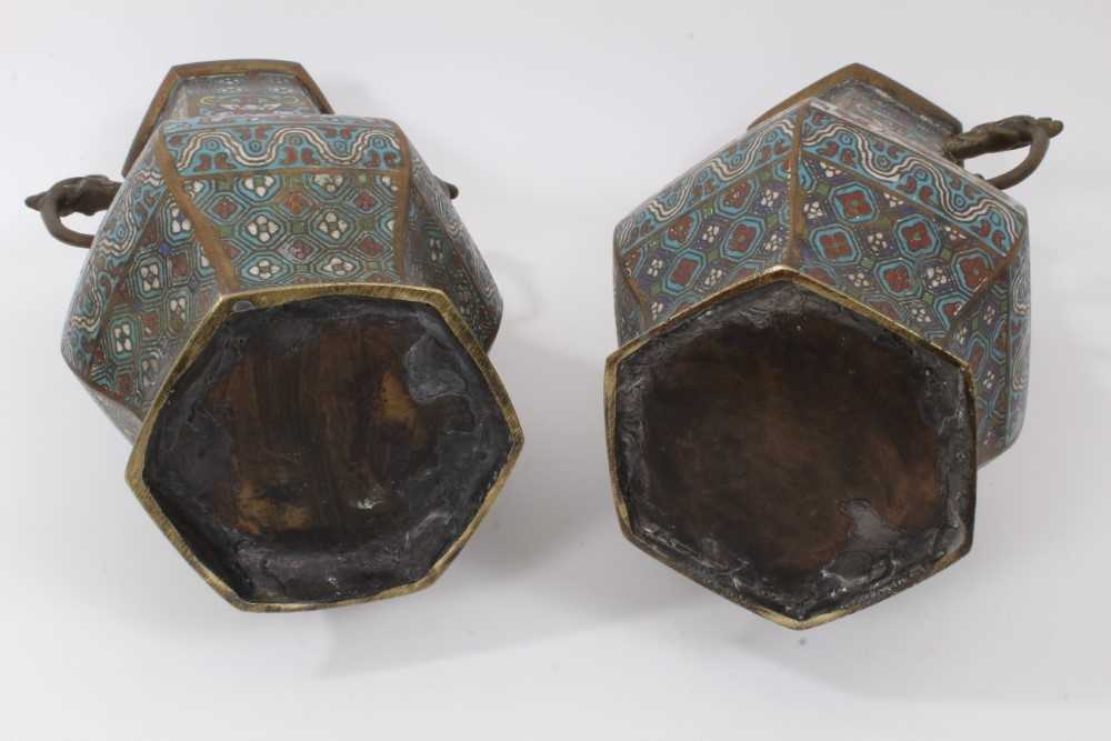 Pair of antique Chinese cloisonné enamel and brass vases, 30.5cm - Image 5 of 5