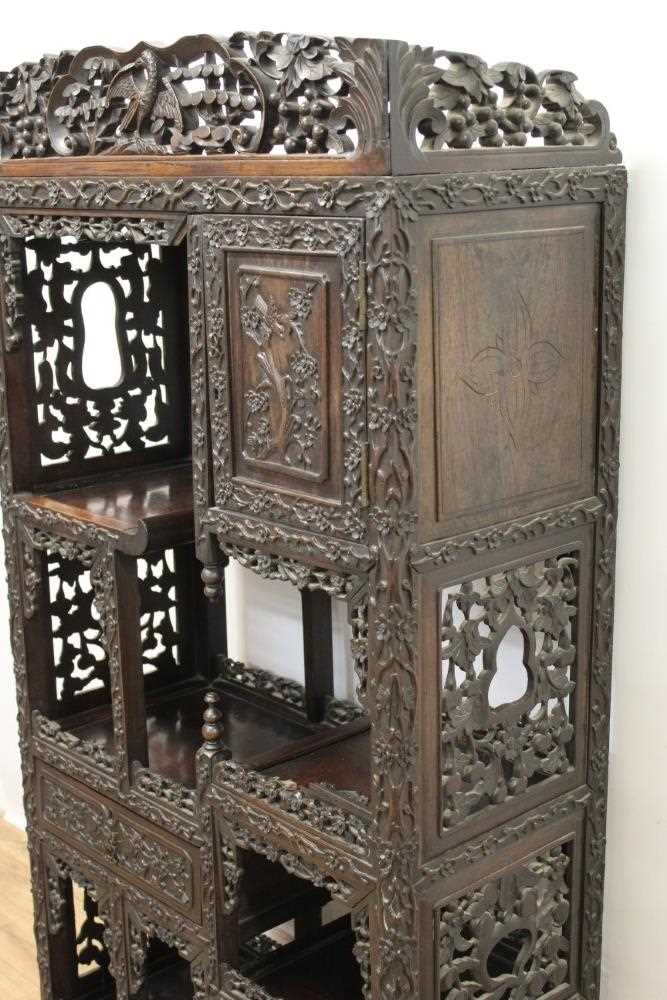Late 19th century Chinese carved rosewood display cabinet - Image 5 of 13
