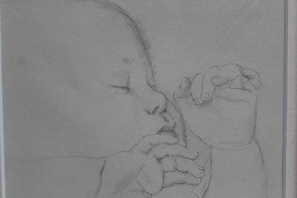 Robert Sargent Austin (1895-1973) pair of pencil drawings - Restful Sleep and Baby Asleep, one dated - Image 4 of 10