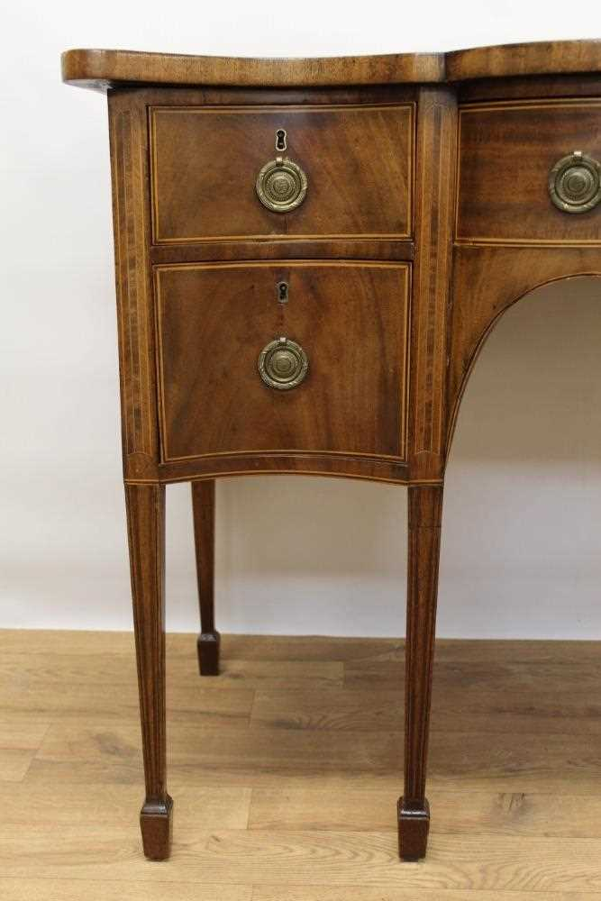 George III mahogany and satinwood banded serpentine sideboard of small proportions - Image 3 of 9