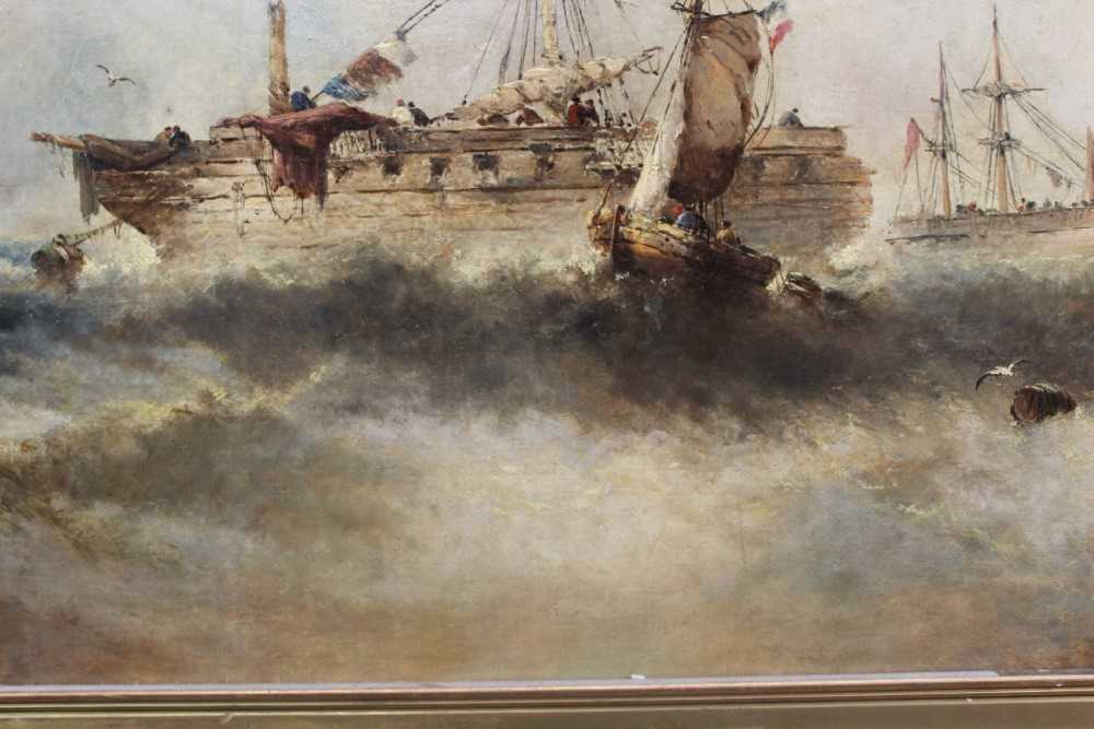 Manner of William Henry Williamson oil on canvas - shipping off the coast, in gilt frame - Image 18 of 27