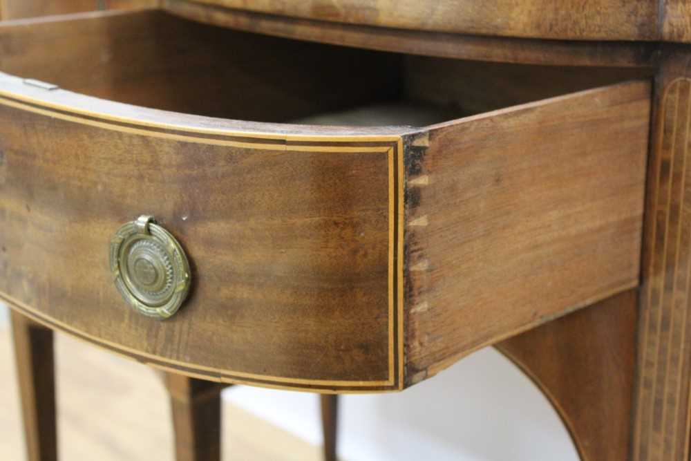 George III mahogany and satinwood banded serpentine sideboard of small proportions - Image 8 of 9