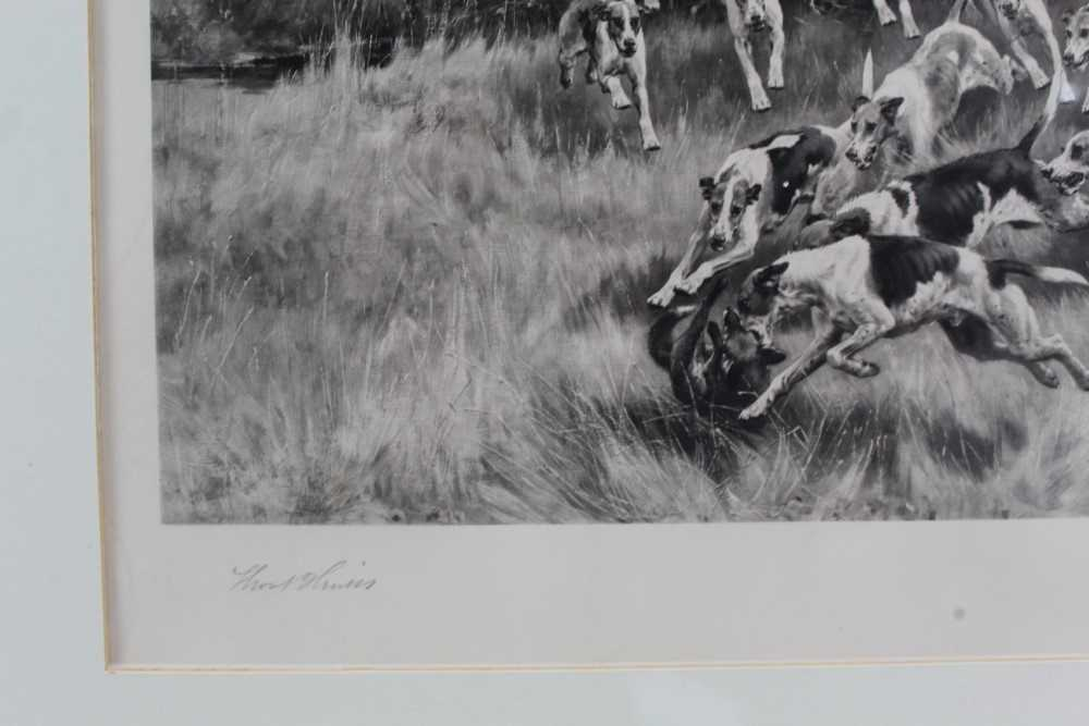 Thomas Blinks (1860-1912) three signed photogravures - Hunting Scenes, 40cm x 57cm, in glazed frames - Image 13 of 15