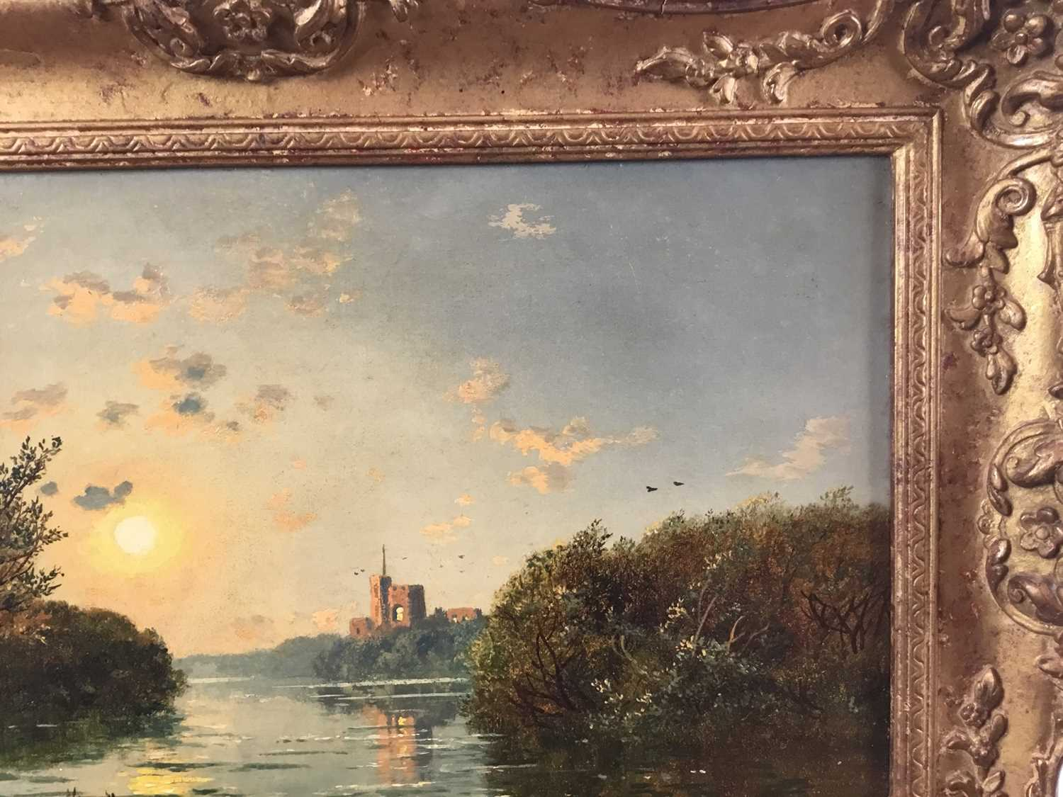 """Edmund John Niemann 1813 - 1876 """"On The River Wye"""", oil on canvas, signed, in gilt frame, gallery - Image 6 of 7"""