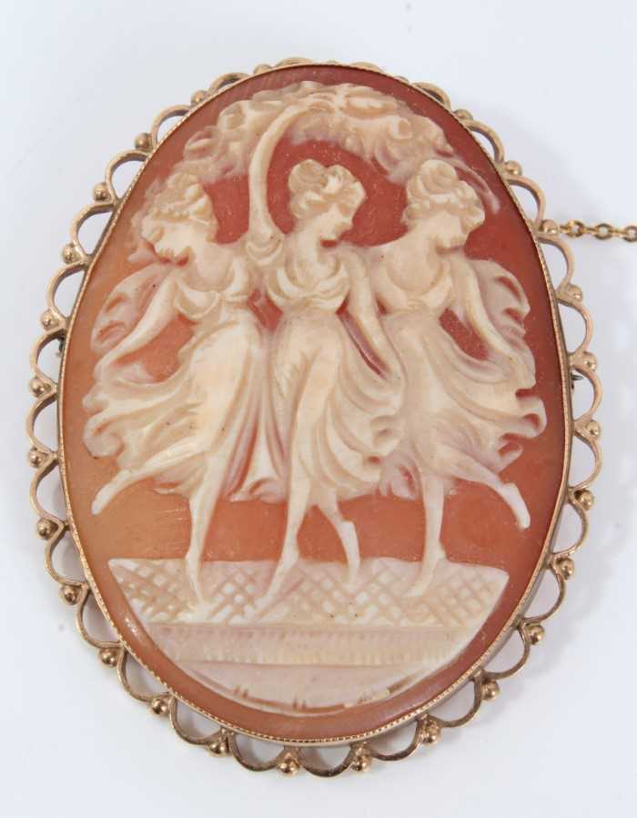 Carved shell cameo brooch depicting the Three Graces, in 9ct gold mount