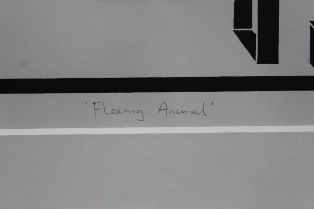 Ron Sims (1944-2014) signed limited edition linocut - Fleeing Animal, 1/50, dated '11, 25.5cm x 47.5 - Image 4 of 7