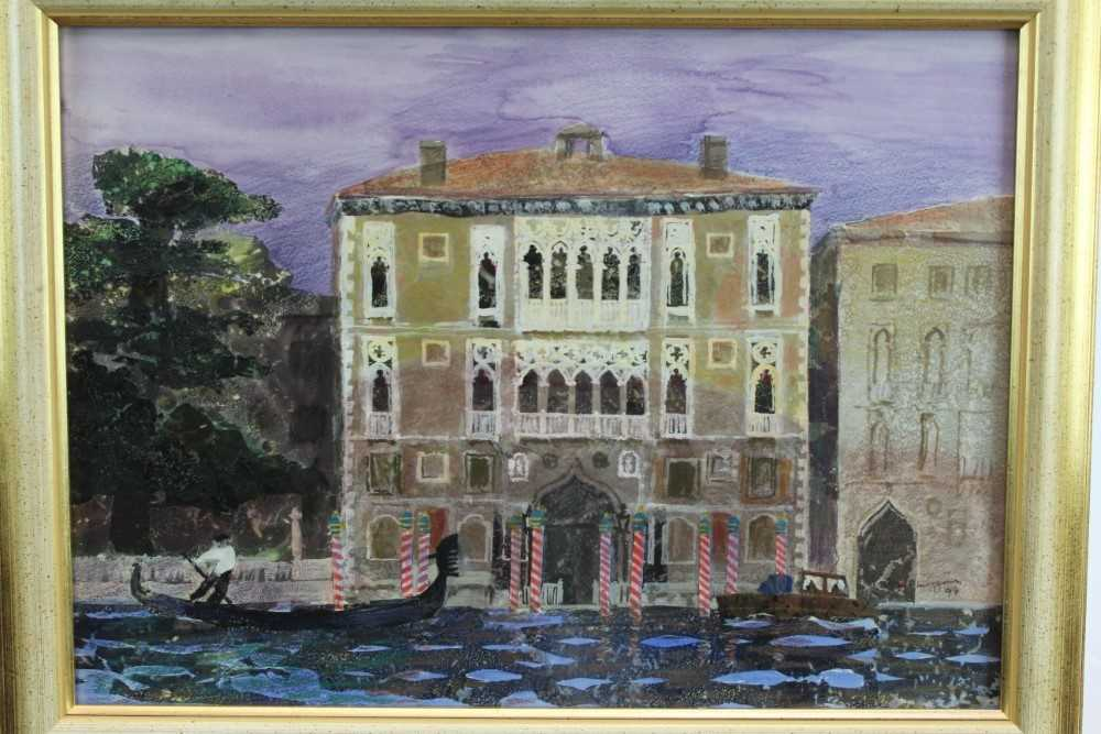 *Glyn Morgan (1926-2015) mixed media and collage - The Cavalli Franchetti Palace, Venice, signed a
