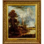 Joseph Paul oil on canvas, Salisbury Cathedral after John Constable