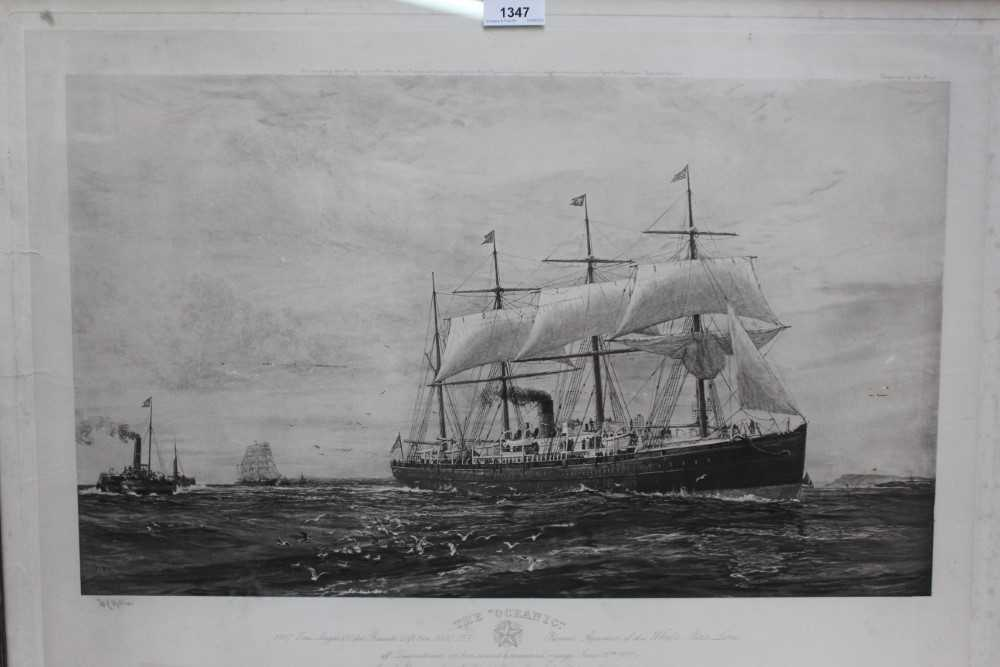 """William Lionel Wyllie (1851-1931) signed black and white engraving - White Star Line """"The Oceanic"""","""
