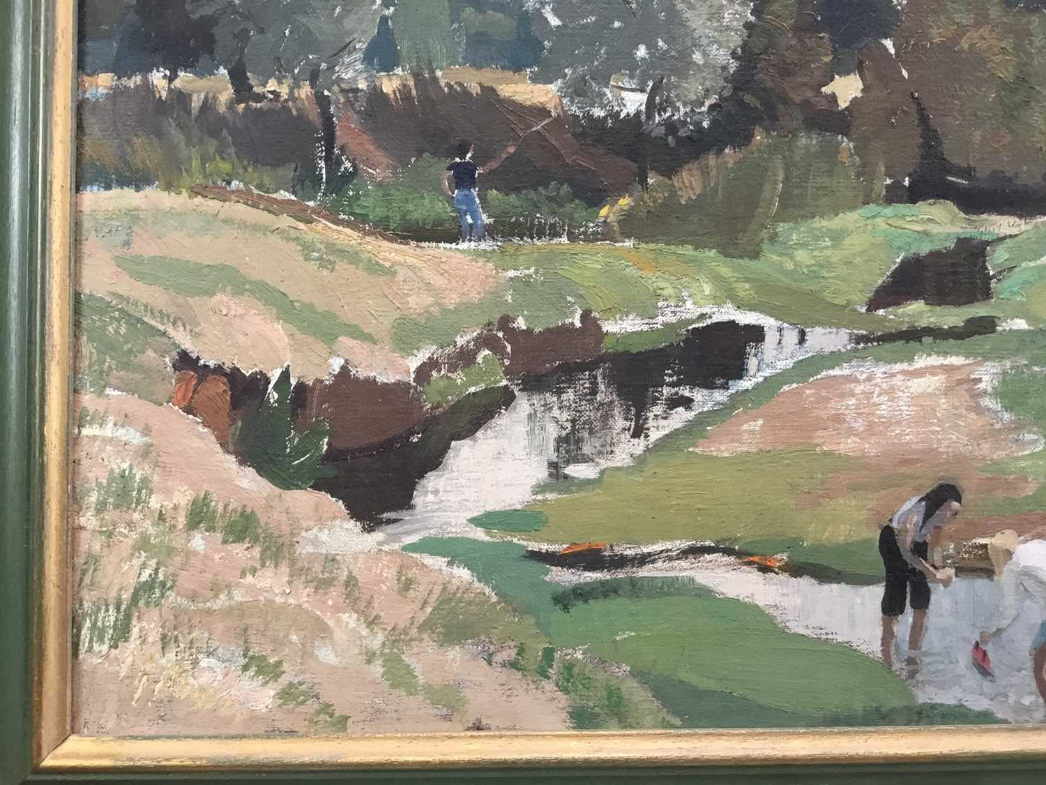Adrian Chorley, oil on board, figures at Nayland - Image 6 of 7