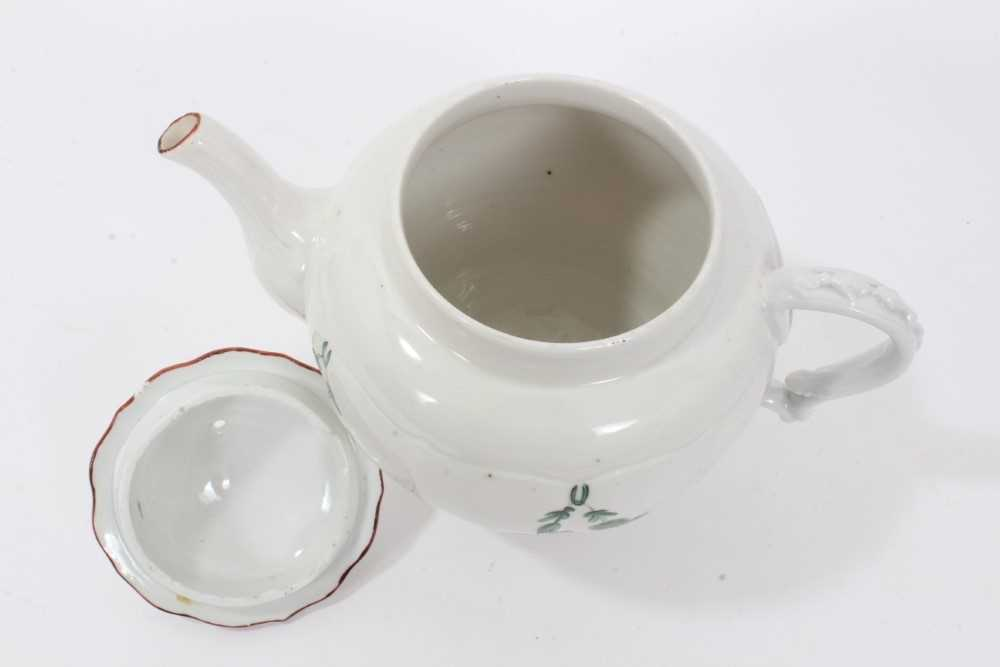 Bristol ogee shaped teapot and cover, circa 1772, with green-painted swags of flowers, the spout and - Image 6 of 9