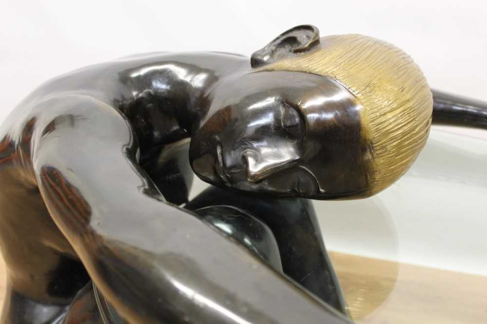 Impressive modern bronze sculptural glass topped coffee table - Image 2 of 8