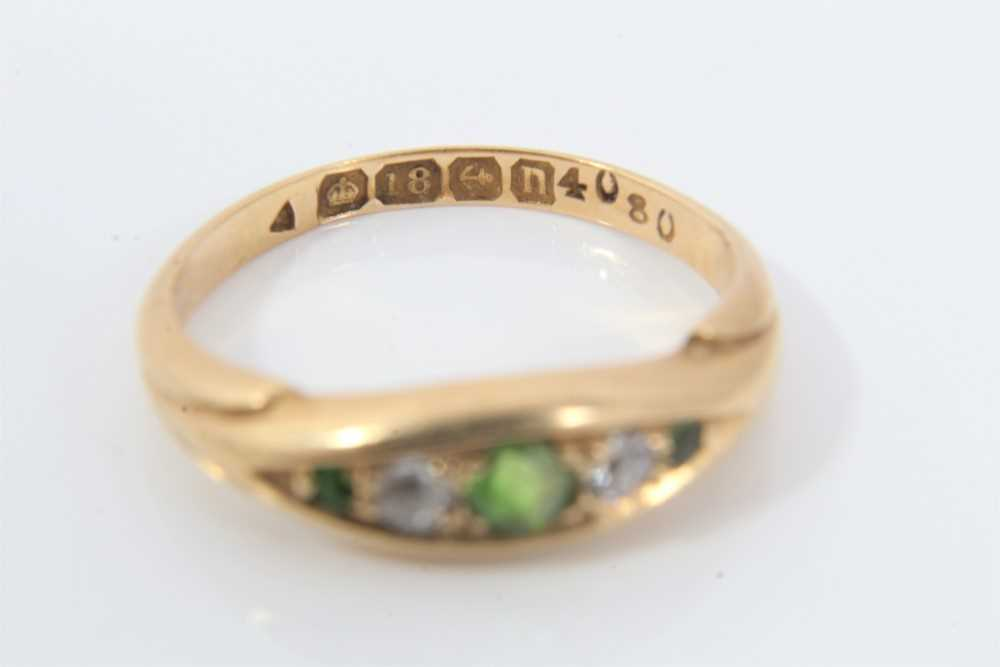 18ct gold green garnet and diamond ring - Image 2 of 3