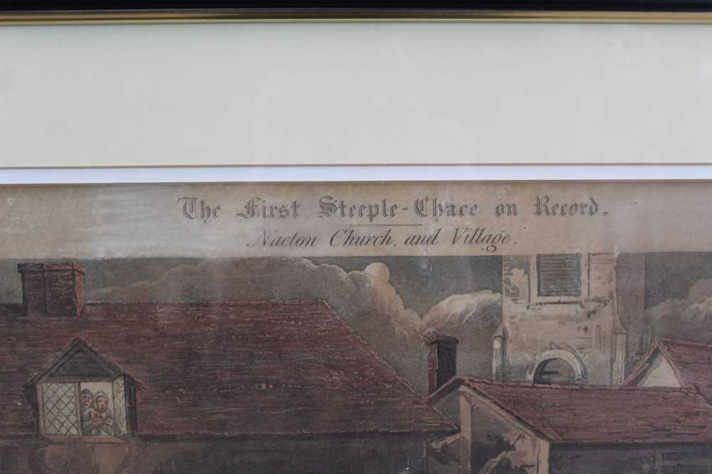 Henry Alken, set of four hand coloured engravings - First Steeple Chase on Record - Image 4 of 11