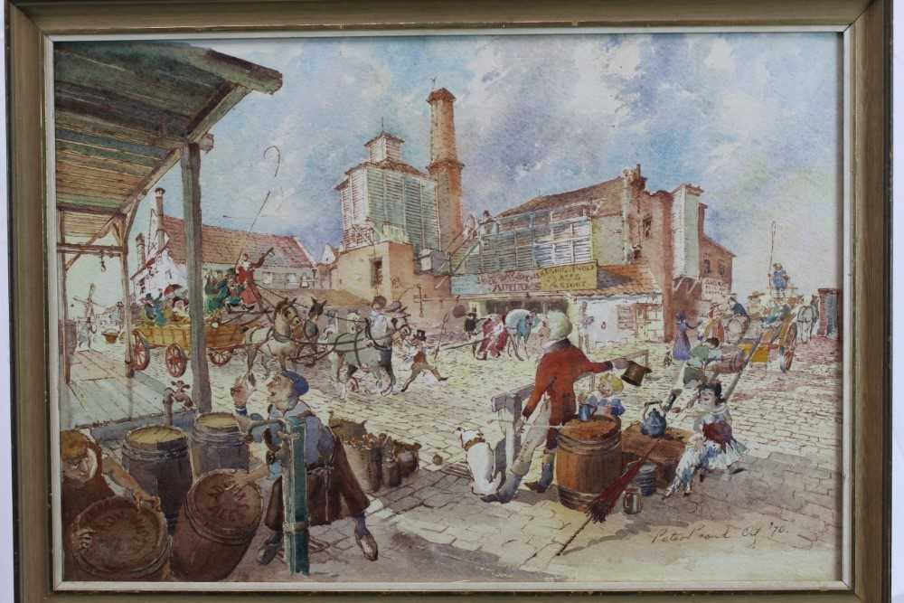 Peter Proud, watercolour - Adnams Brewery, Southwold, signed and dated '70, in glazed frame