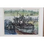 *Richard Bawden (b. 1936) etching and aquatint in colours, On the mud, Wivenhoe, signed and numbered
