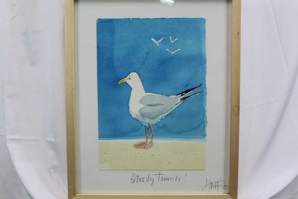 Hugh Fairfax watercolour - Bloody Tourists, signed, dated '03, in glazed frame Provenance: Thompso - Image 2 of 9