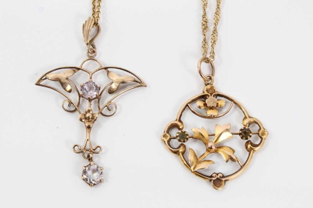 Two Edwardian gold and gem set pendants with openwork floral plaques on chains - Image 2 of 4