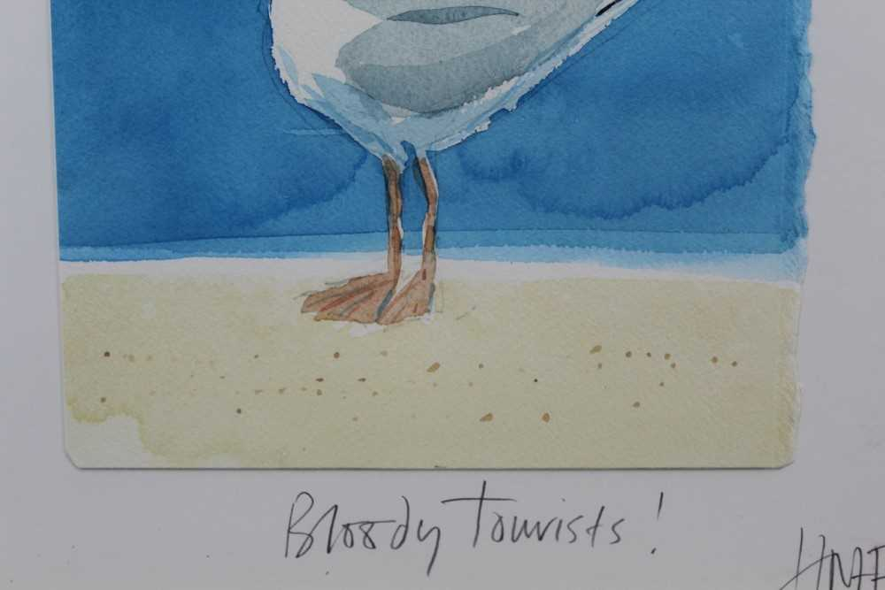 Hugh Fairfax watercolour - Bloody Tourists, signed, dated '03, in glazed frame Provenance: Thompso - Image 5 of 9