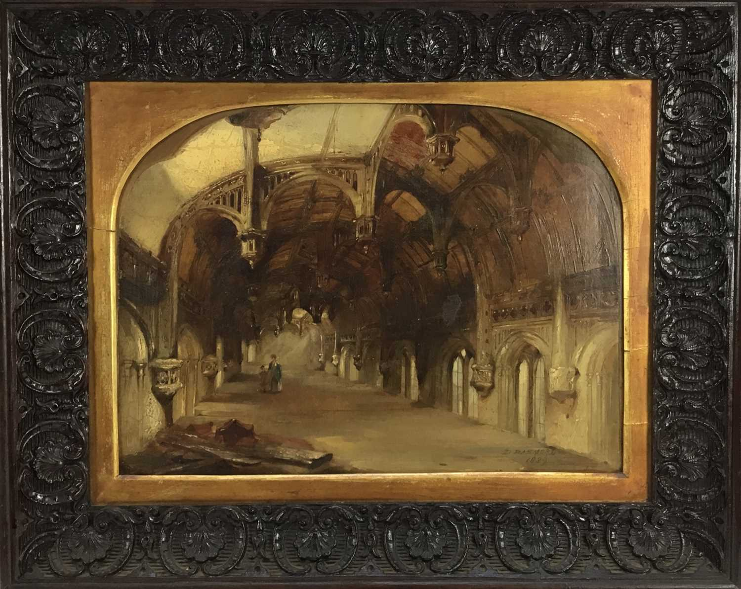 Daniel I Pasmore (act. 1829-1865) oil on canvas 'Crosby Hall', signed and dated 1836, 29 x 39cm, car