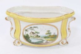 Derby yellow-ground bough pot, circa 1790-1800, polychrome painted with landscape scenes, with scrol