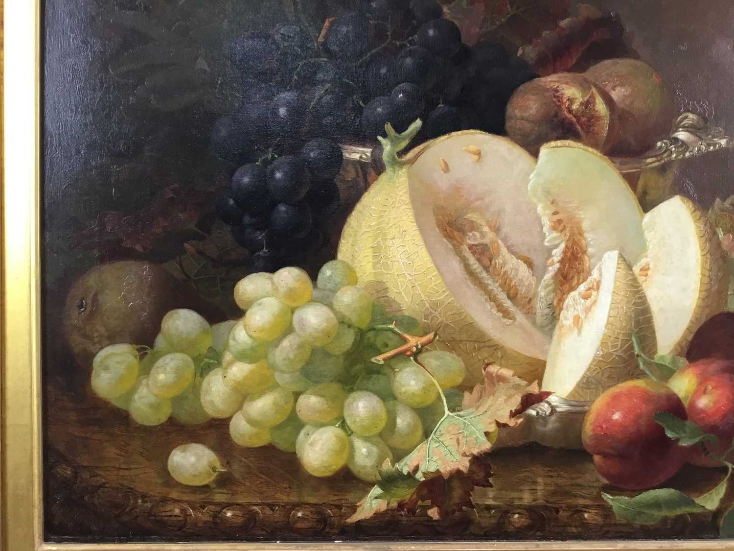 Eloise Harriet Stannard (1828-1915) oil on canvas, Peaches and grapes - Image 4 of 10