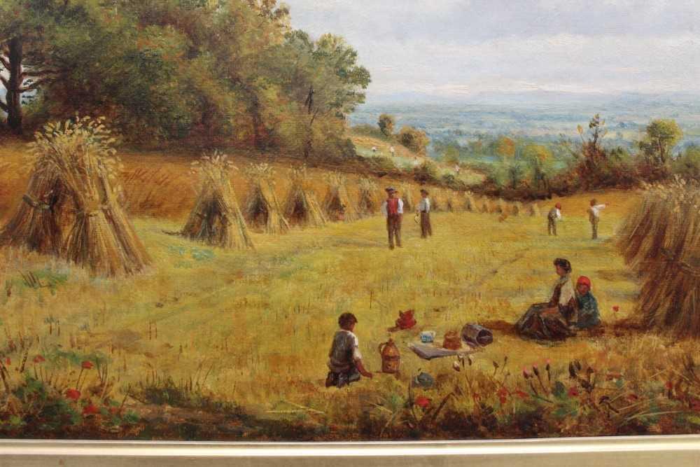 J Hughes - late 19th century oil on canvas in original gilt frame - Sunny Cornfield. 29cm x 44.5cm - Image 4 of 11