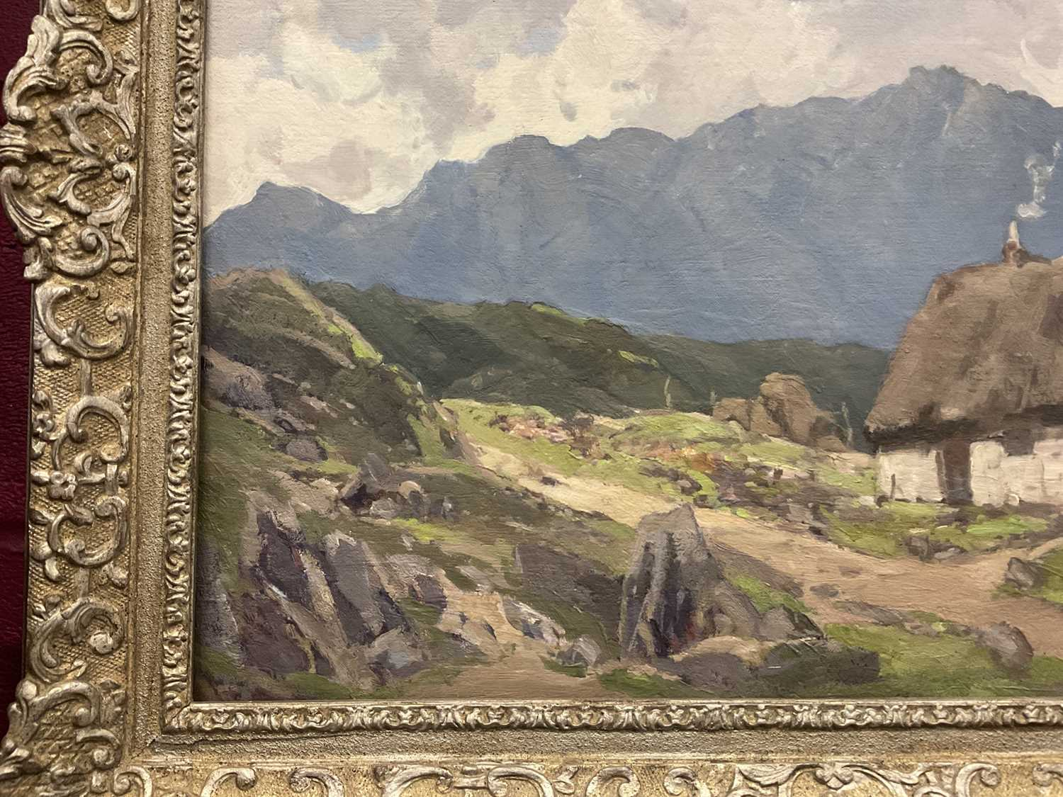 Lewis Taylor Gibb (1873-1945) oil on canvas - Crofters Cottage, 50cm x 61cm, in silvered frame - Image 5 of 9