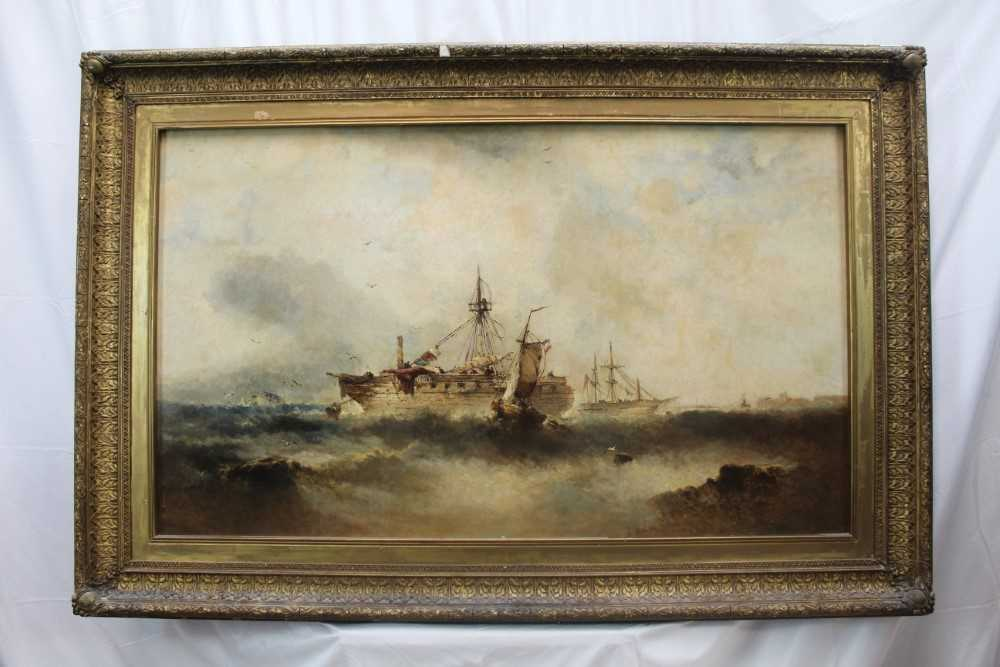 Manner of William Henry Williamson oil on canvas - shipping off the coast, in gilt frame