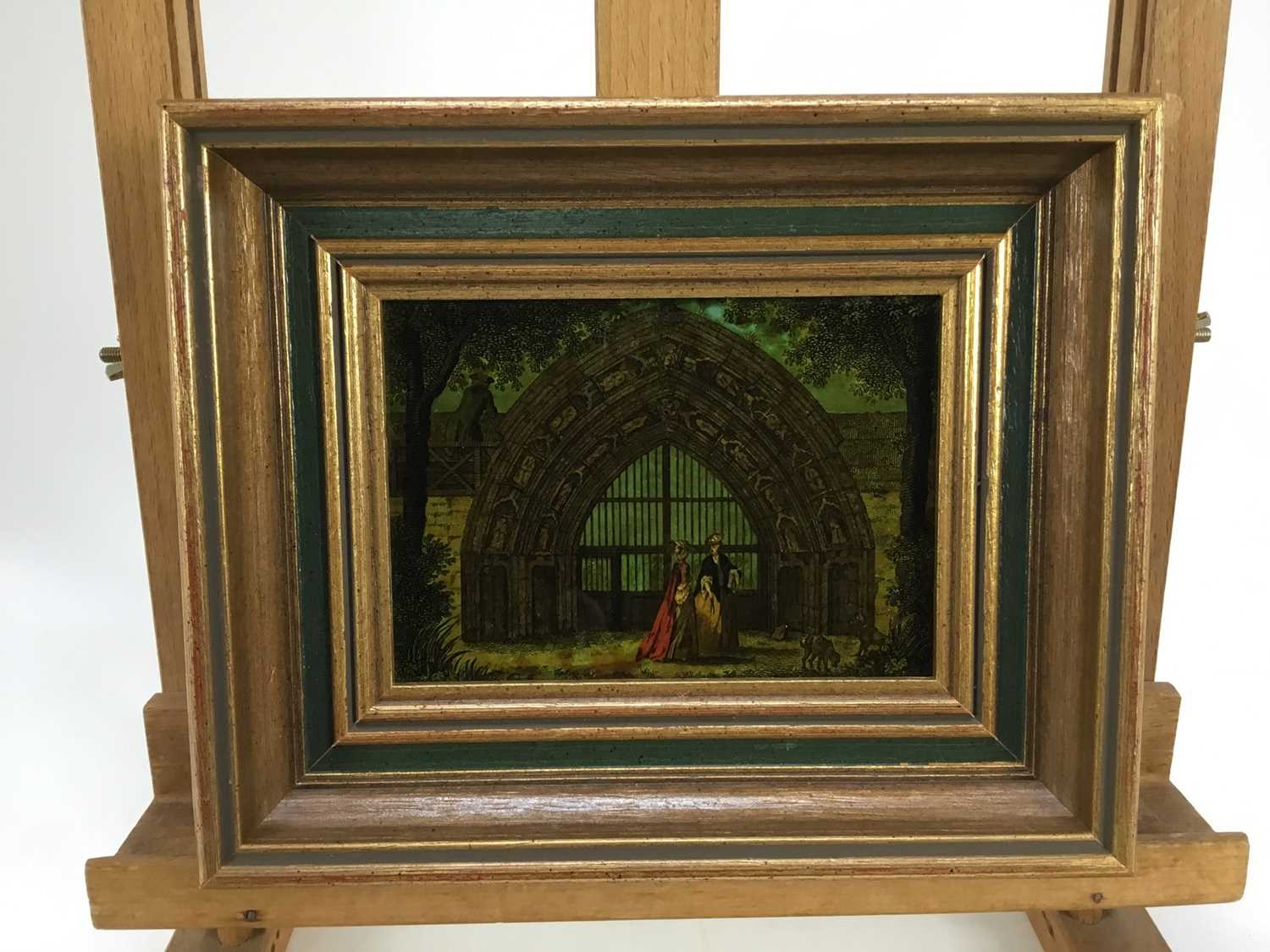 Jenny Simpson (1931-2020), Georgian-style glass pictures, framed and glazed - eight mixed pictures - Image 3 of 11