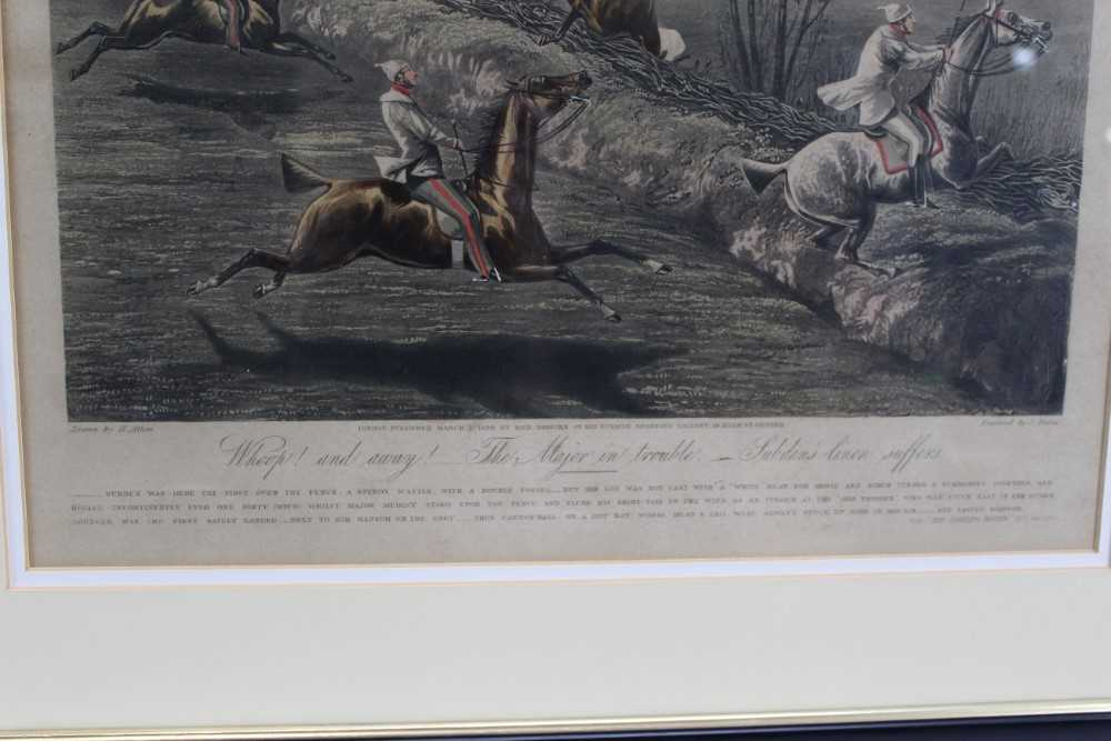 Henry Alken, set of four hand coloured engravings - First Steeple Chase on Record - Image 8 of 11