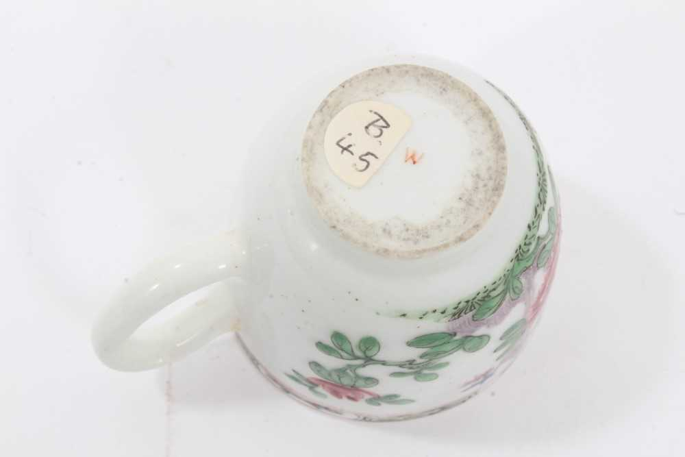 Bow coffee cup, circa 1752, decorated in the famille rose style with flowers and a patterned border, - Image 5 of 5