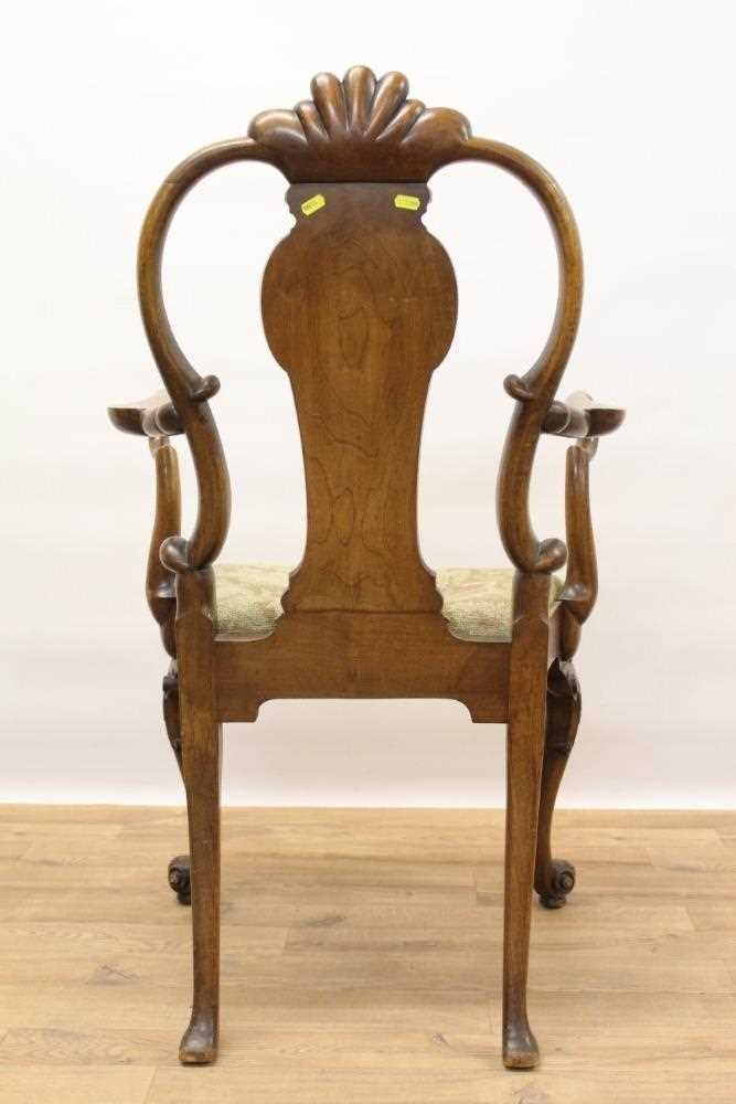 George I style walnut and inlaid crook arm elbow chair - Image 9 of 9