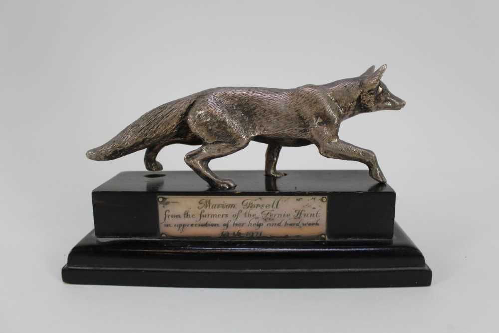 Hunting trophy in the form of a silver plated fox, mounted fox pad and Fox Hunt framed map - Image 22 of 31