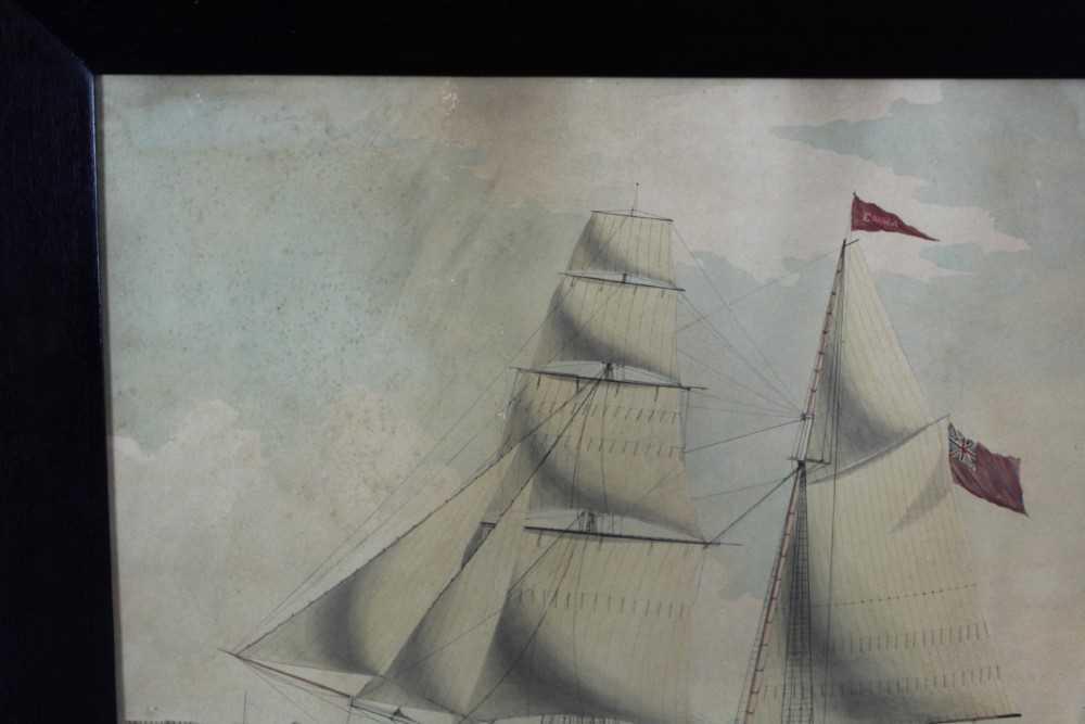 Mid 19th century ink and watercolour - 'Brigantine Emma - William Thomas master, Entering Smyrna Bay - Image 5 of 8