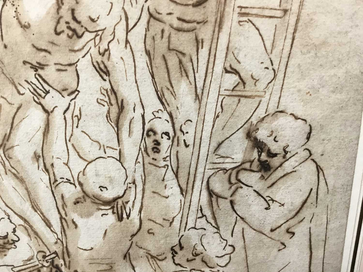 After Luca Cambiaso (1527-1585) 16th century drawing, pen and ink with wash, watermark, 'The Descent - Image 9 of 13