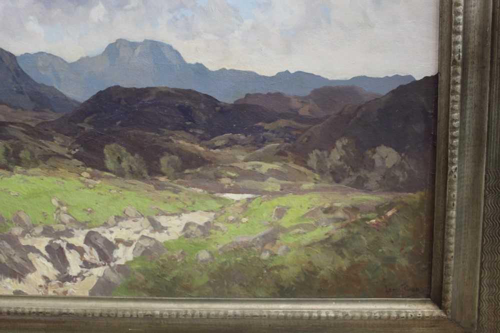 Lewis Taylor Gibb (1873-1945) oil on canvas - Extensive Scottish Landscape, signed, 63cm x 76cm, in - Image 3 of 14
