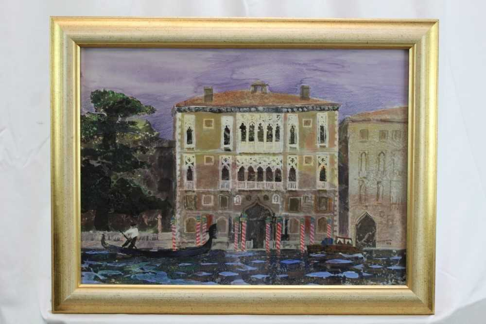 *Glyn Morgan (1926-2015) mixed media and collage - The Cavalli Franchetti Palace, Venice, signed a - Image 2 of 4