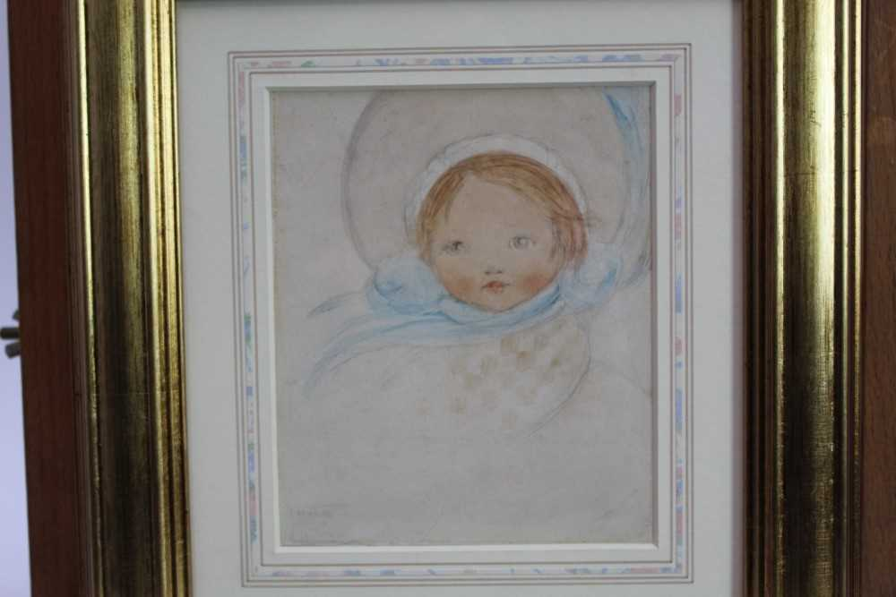 *Mabel Lucie Attwell (1879-1964) pencil and watercolour - The Blue Bonnet, signed, in glazed gilt fr